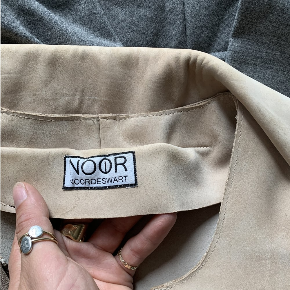 woven label nobbon leather coat gallory