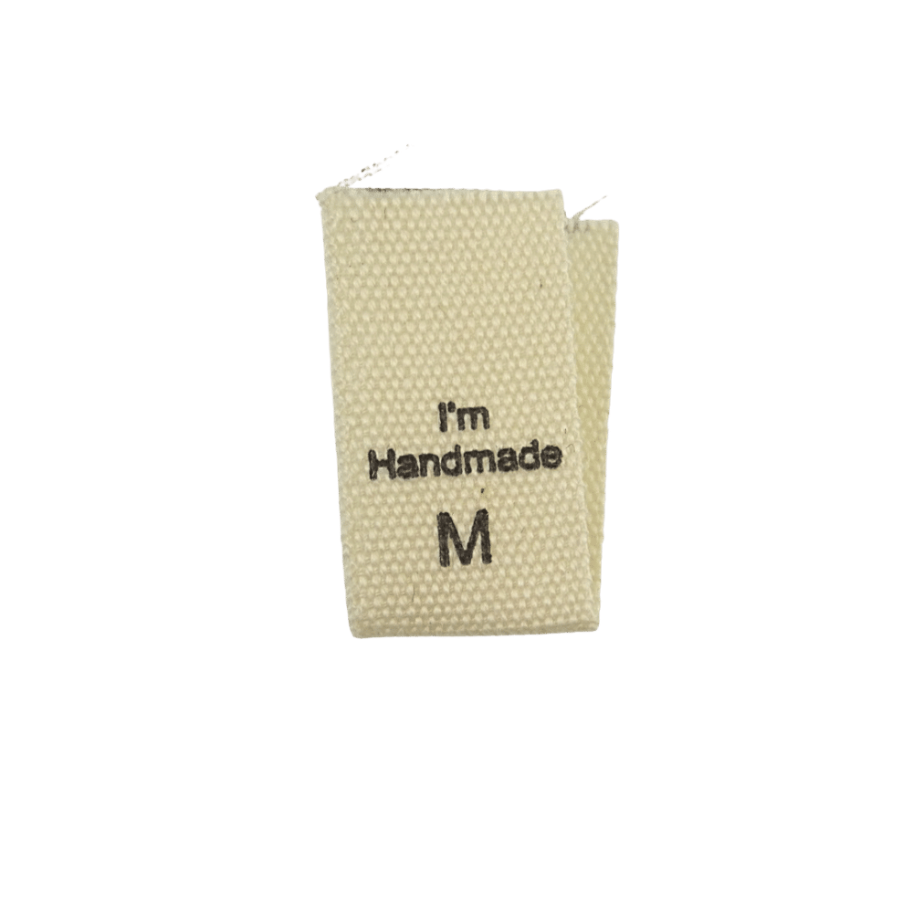 size label cotton handmade rtd m