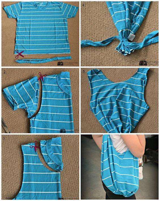no sew diy clothes tshirt bag