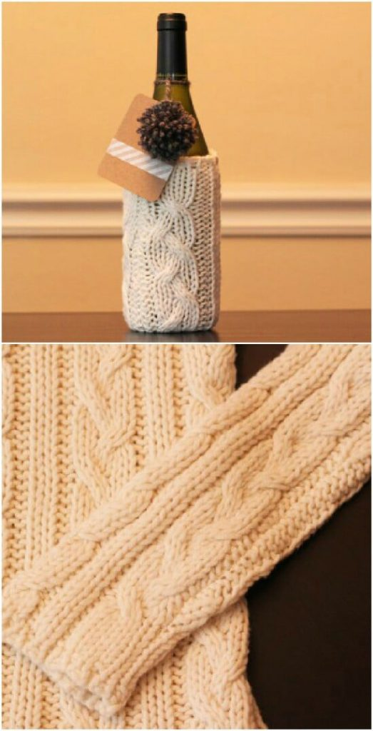 upcycled repurpose sweater wine cooler