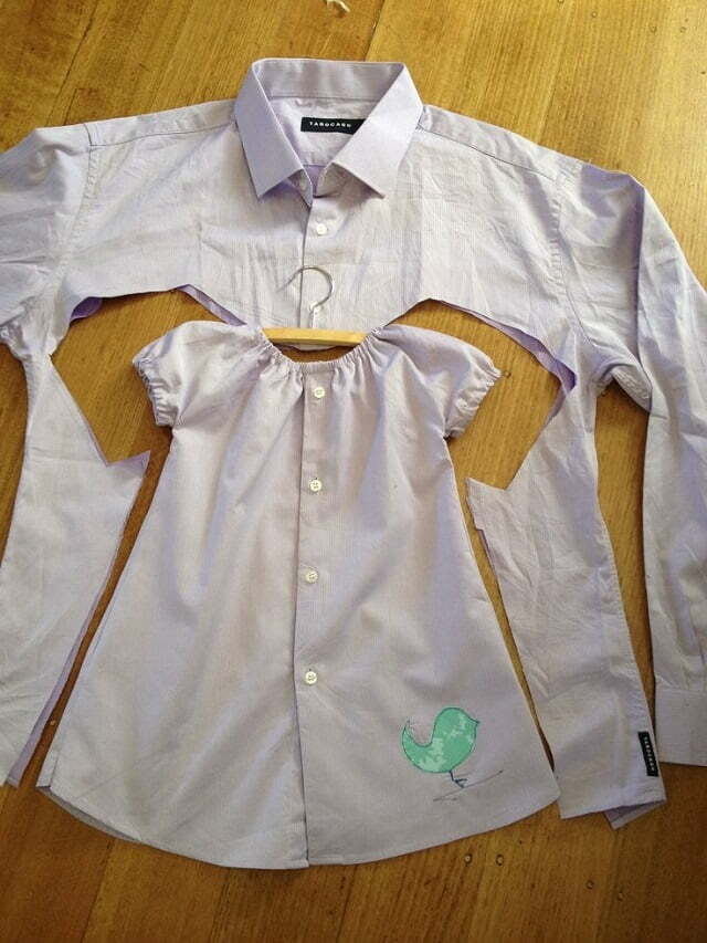 Baby girl dress upcycled from mens shirt diy