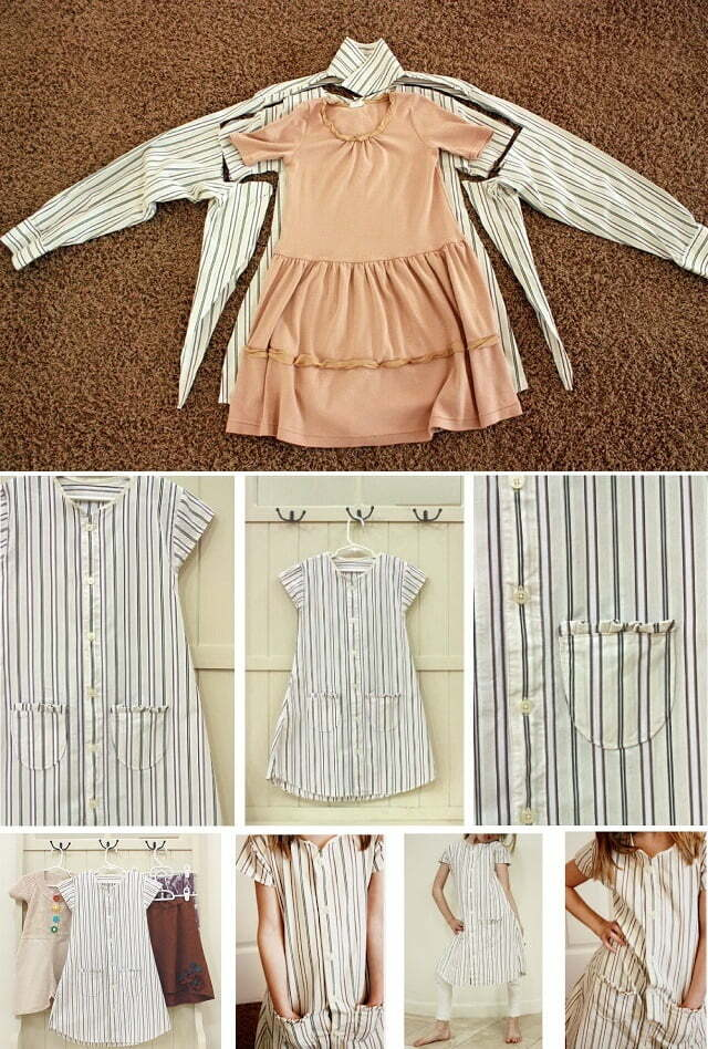 Baby girl dress upcycled from mens shirt diy2
