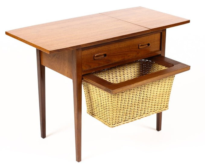 Large danish mid century teak sewing table with drop leaf sliding top