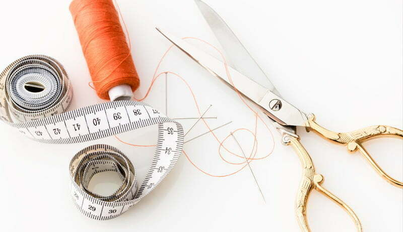 Scissors and sewing materials