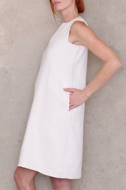 Ann Normandy design sleeveless shift dress sewing pattern