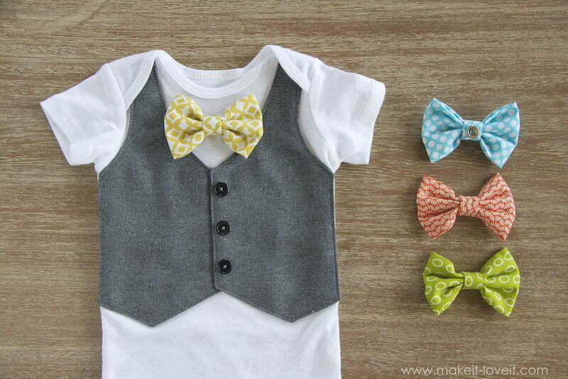 Faux vest onesie with interchangeable bowties for baby