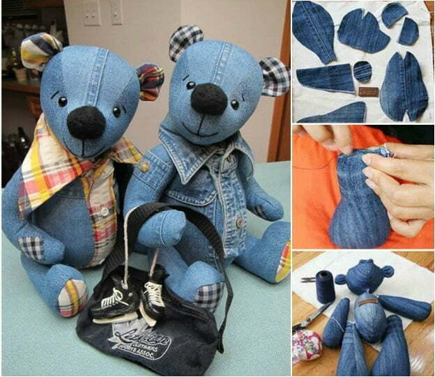 How to make denim teddy bear from old jeans