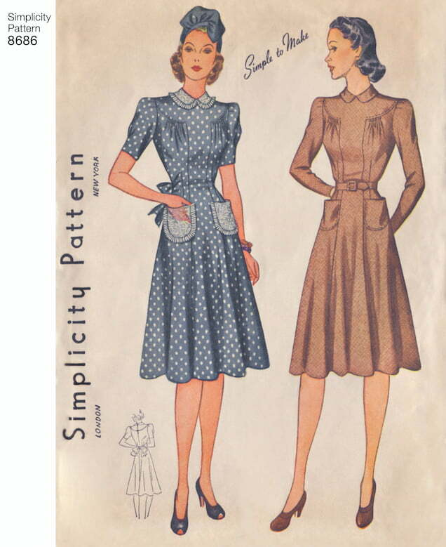 Simplicity vintage 1940s dress pattern