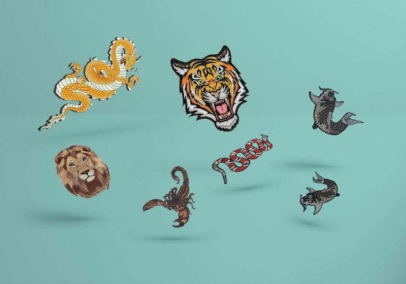 Animals embroidered badges and patches