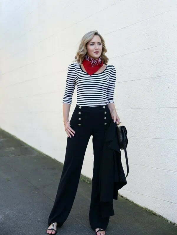 Best black sailor pants with striped tee and choker scarf