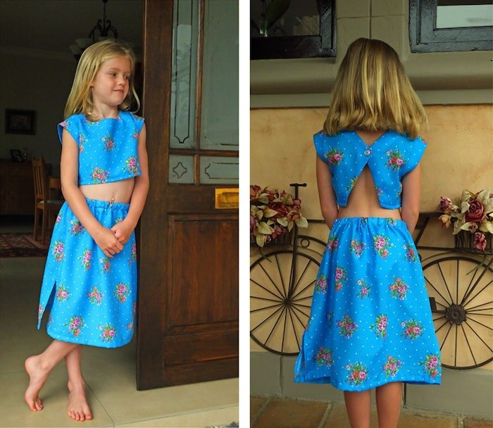 Crop top and pull on skirt pattern