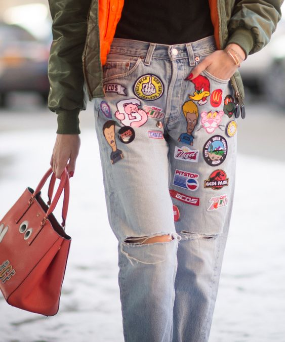 How to sew patches on jeans