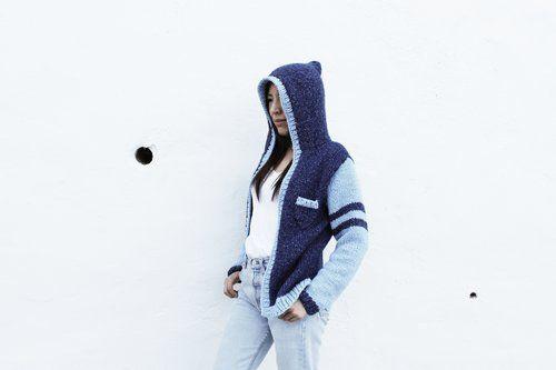 Knit varsity sweater