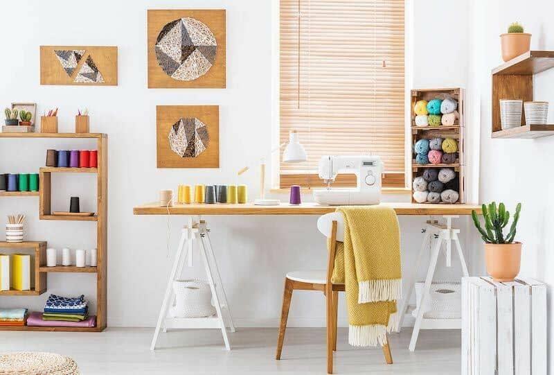 Sewing room shelves organization desk