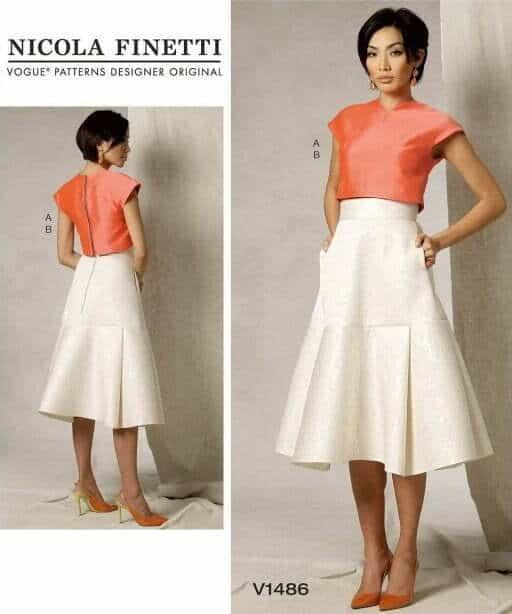 Vogue sewing pattern women crop top and yoke flare skirt