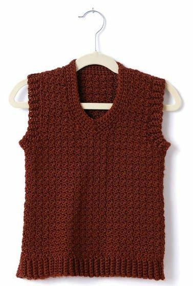 Adult crochet v neck vest for men