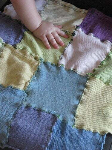 Baby blanket from recycled socks