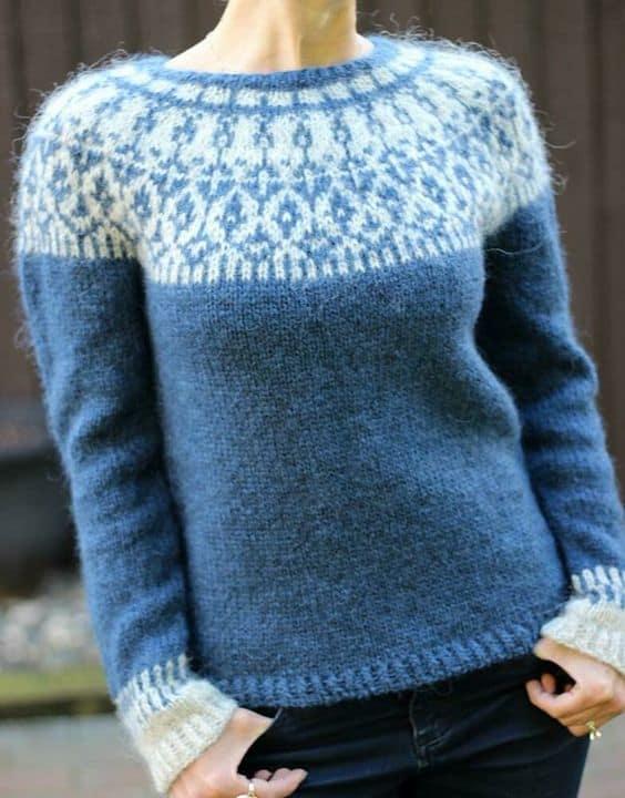 Circular yoke type of sweater