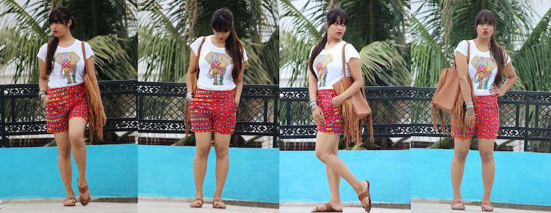 Ethnic printed shorts