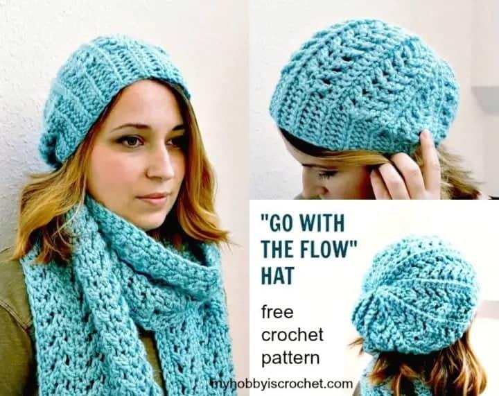 Free crochet flow hat pattern