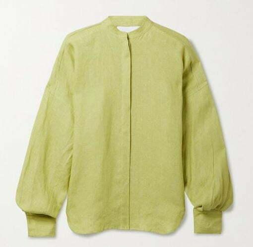 Leaf green linen shirt