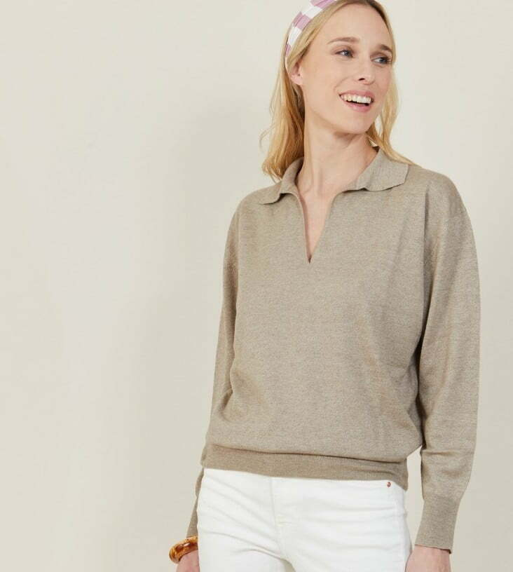 Linen cashmere sweater with polo neck bilbao