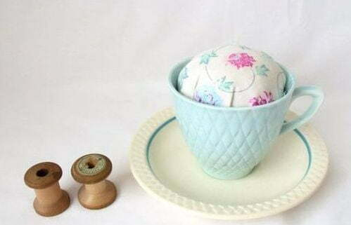 Novelty vintage tea cup and saucer pin cushion
