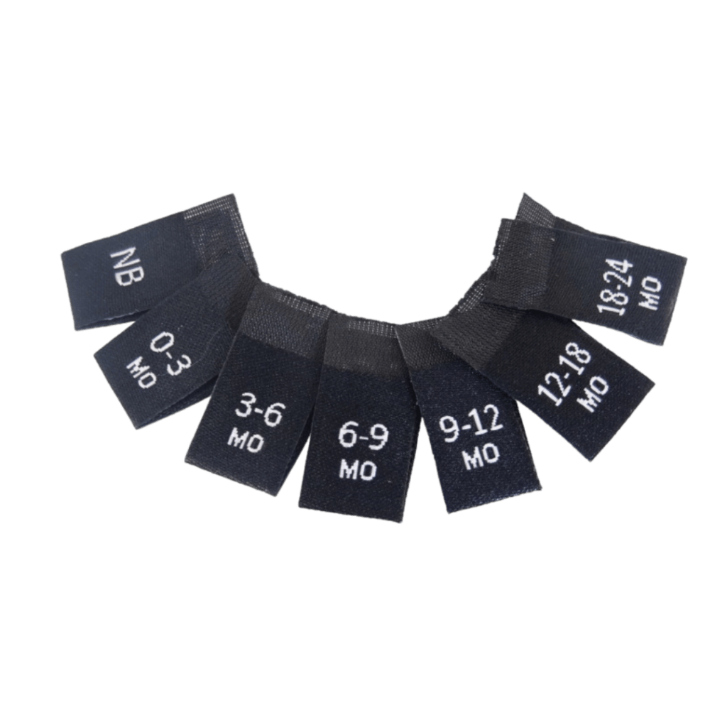 pre made woven labels sizes