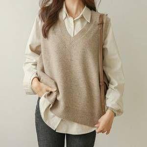 V neck side slit sweater vest
