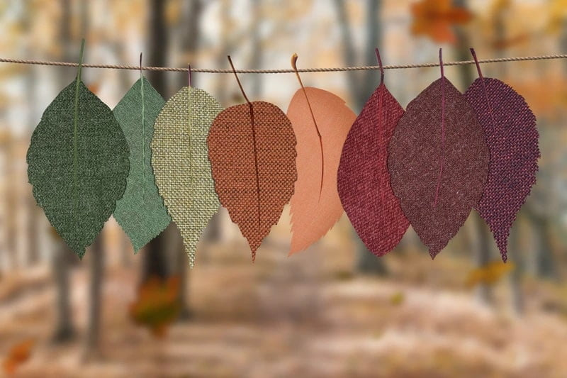 Assorted color textile leaves